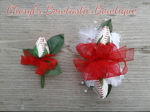 Baseball Wrist Corsage and Boutonniere set by Cheryl's Bowtastic Bowtique
