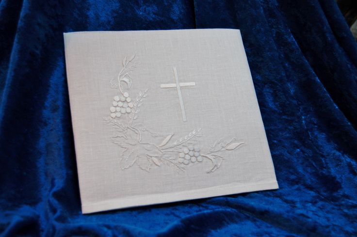"""Communion pall with wheat, grapes, and cross design; hand embroidered with 2 strands of DMC B5200; 7"""" x 7""""; small altar linens; 100% linen from Ulster."""