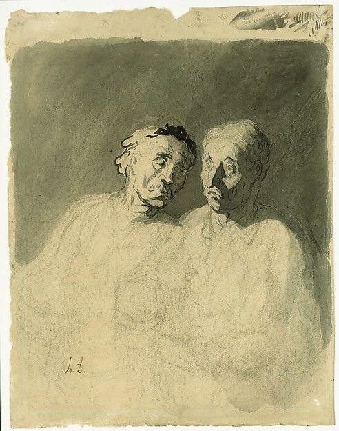 Two Drinkers - Honoré Daumier, 1860–79