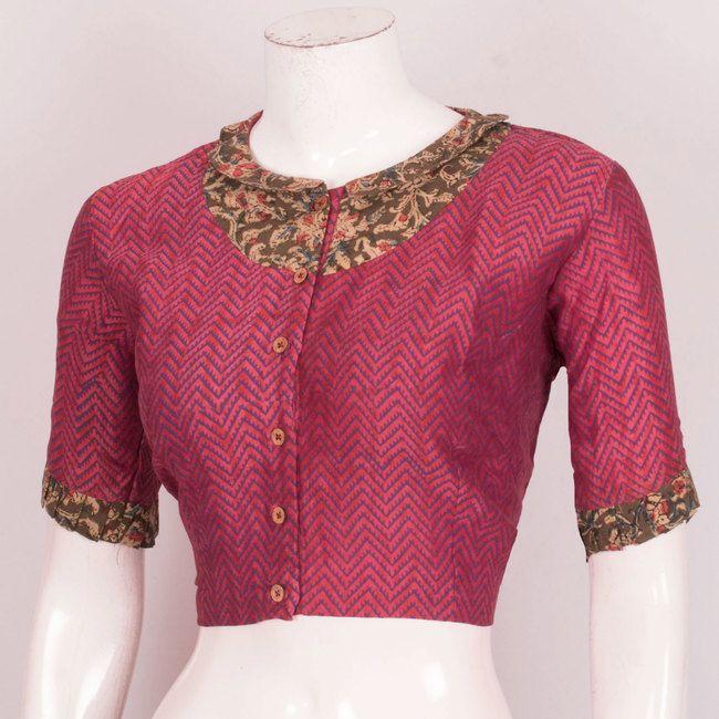 706e836bb6231a Hand Block Printed Cotton Blouse With Kalamkari Collar Neck & Frill Sleeves