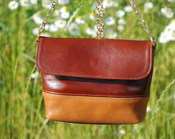 Small Brown Leather Shoulder Bag Handmade Leather Bag by toshibags
