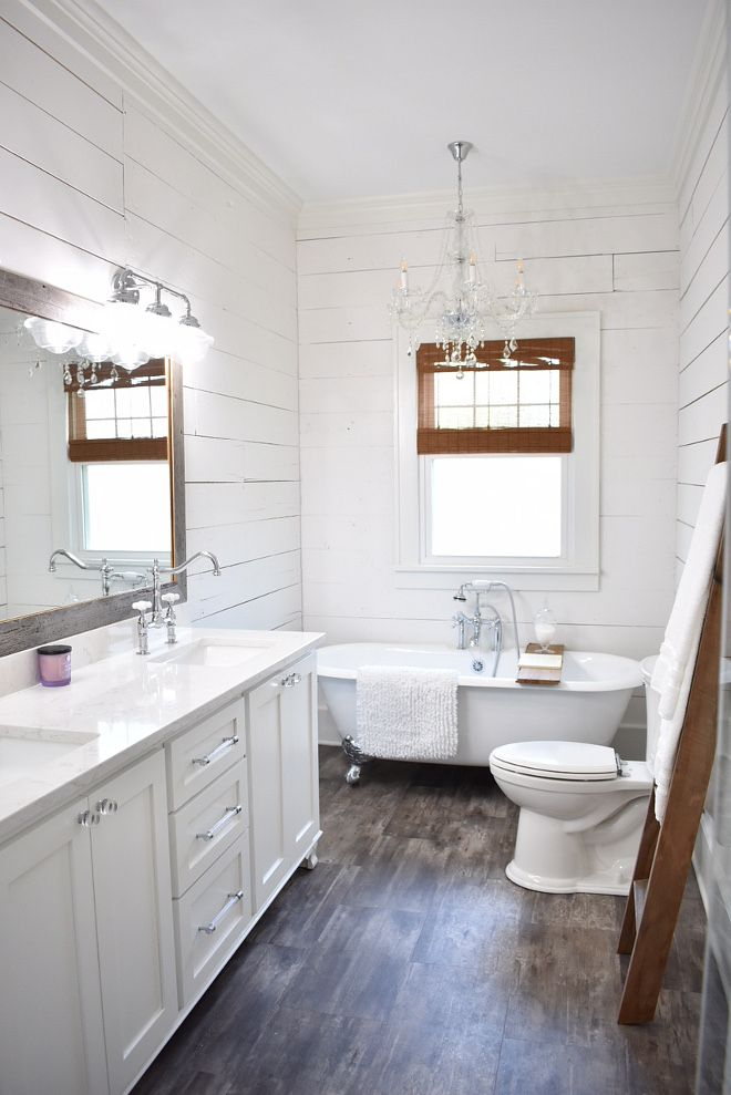 Farmhouse Master Bath The Master Bath Was Completely Gutted And Is Brand New I Wanted Clean Sim Small Bathroom Remodel Bathrooms Remodel Bathroom Design Small