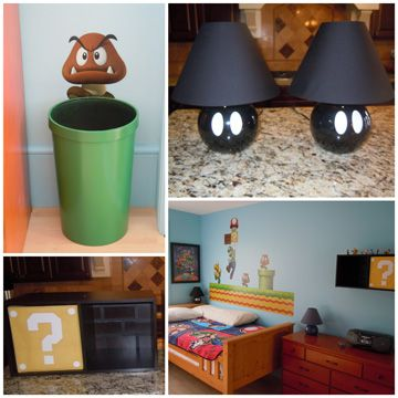 super mario bros bedroomlove the lampidea so simple but very creative perfect for a little boys room