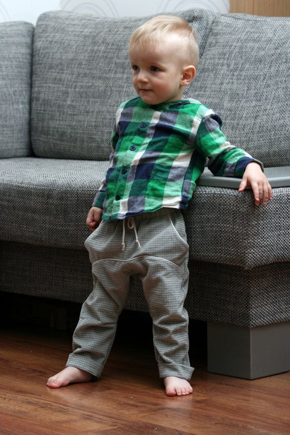 Grey toddler boys pants in light corduroy Comfortable slouchie trousers with tight legs // size US 4 (EU 104) - Ready to ship