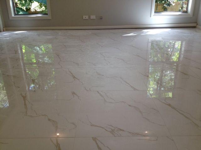 Floor: Calcatta Gold rectified edge 600 x 600mm Gloss