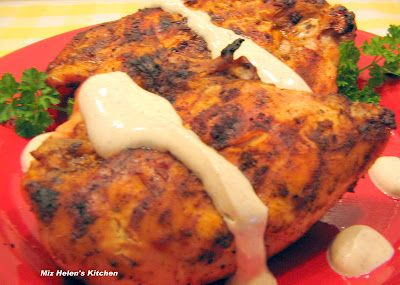 "Grilled Chipotle Chicken with Chipotle Cream Sauce. The ""cream sauce"" is made with yogurt...unbelievably good!"