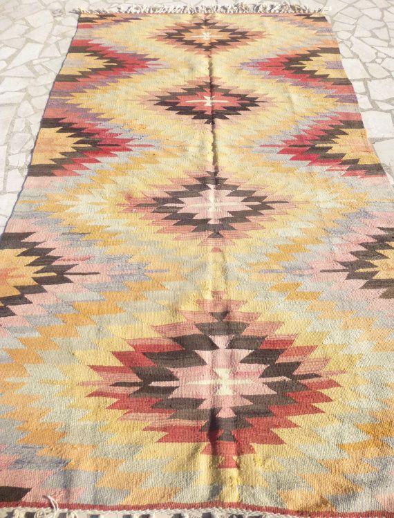 Ethnic Turkish Kilim Rug Pastel Anatolian By Vintageartfactory