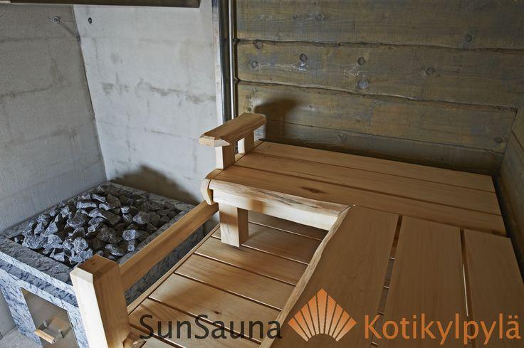 Sun Sauna savusauna, smoke sauna, aspen bech, savusauna laude, savusaunan lauteet