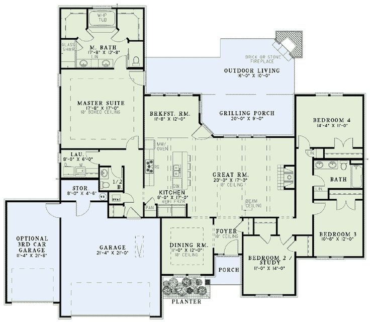 first floor plan of house plan 62199 big front porcheswrap around