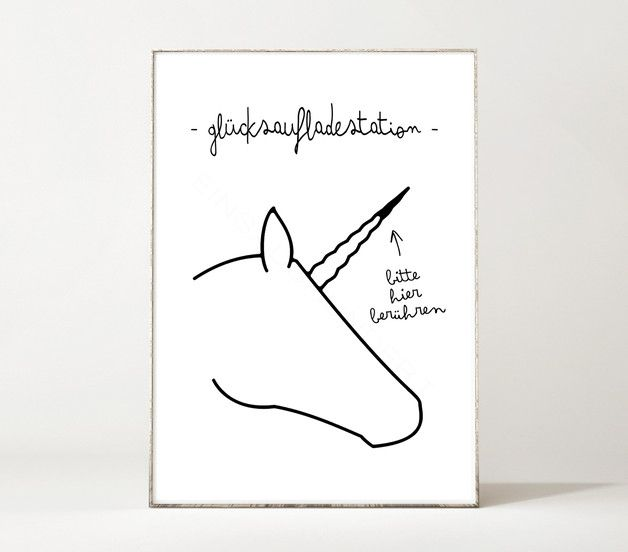 Einhorn-Poster mit Glücksaufladestation, Motivation, Wanddeko / art print with unicorn, motivational quote, wall decoration made by Einsaushundert via DaWanda.com
