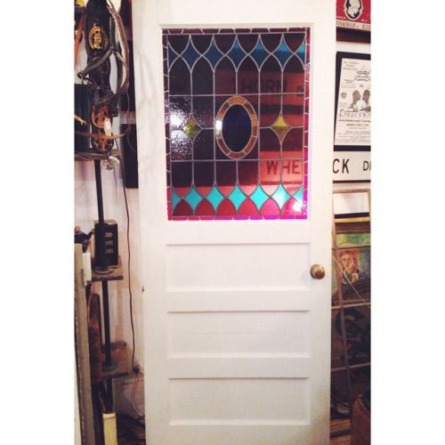 """The guys at @m3cdemolitionto salvaged this door from an antique home on Summerhill, The stained glass window is absolutely stunning! It measures: 80""""x33.5"""""""