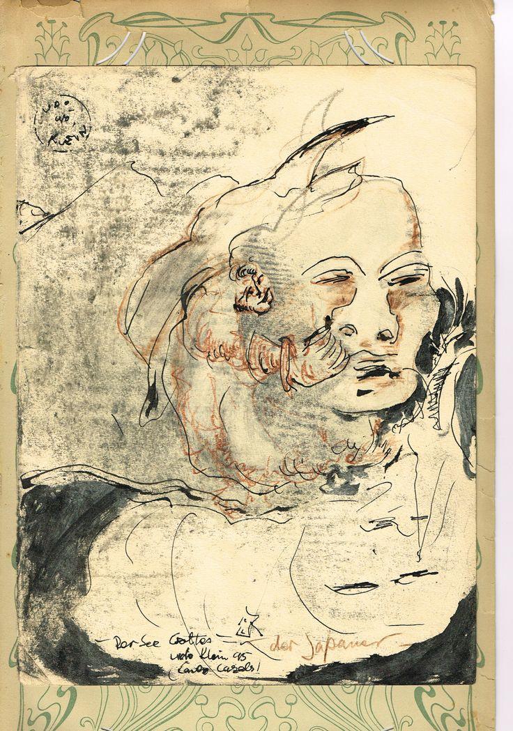 Der Japaner, 1995, Zeichnung, Mischtechnik auf Papier, aufgeheftet auf Ornamentpapier. 22,5 x 29,5, 450,- EURO, Anfragen an Britta Kremke, management@carlocazals.com