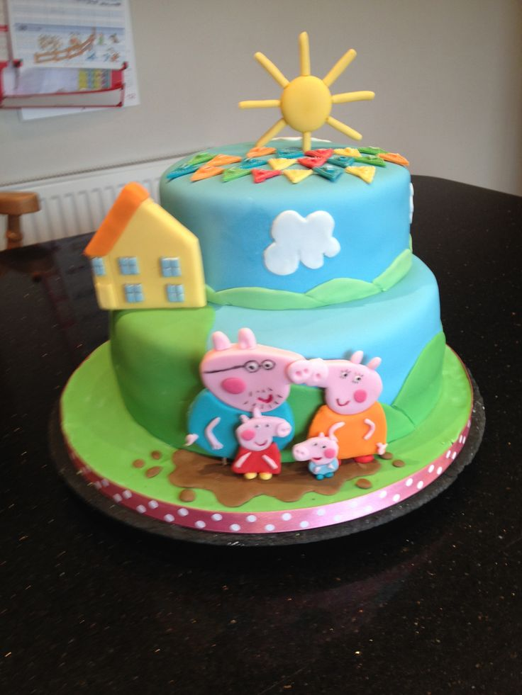 Peppa Pig Cake - 2 tiers with Peppa & her family