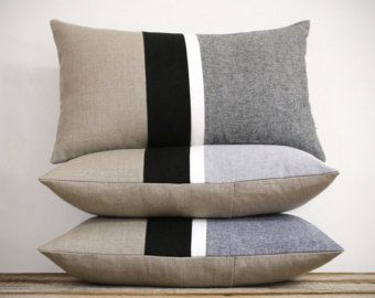 NEW MIX & MATCH SET :: This beautiful set includes (1) 12x16 colorblock pillow cover, (1) 12x20 colorblock stripe pillow cover, (1) 16x16 striped pillow cover, and (1) 20x20 colorblock stripe pillow cover. Colorblock stripes in your choice of (blue, gray or black chambray), off white, lime and natural linen gives this pillow cover layers of texture and a pop of color. Chambray is one of the HOTTEST trends for spring and summer! This color palette and design coordinates perfectly with our…