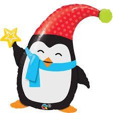 Balão Pinguim Natalino Popular Elfin Penguin 44232 para decoração natalina - Estilo e festas