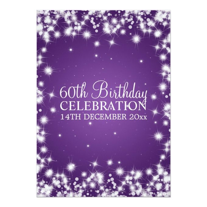 1404 best 60th birthday invitations images on pinterest 60th elegant 60th birthday party winter sparkle purple 5x7 paper invitation card filmwisefo Choice Image
