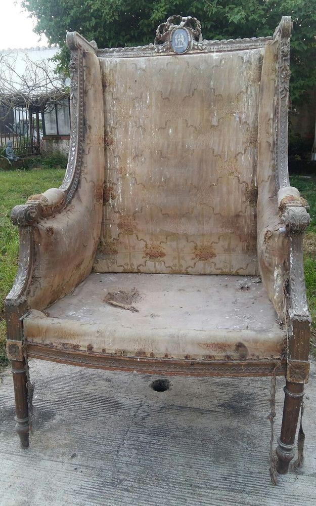 dtails sur large bergere louis xvi fauteuil ancien cam wedgwood sevres au fond d un placard pinterest wedgwood - Fauteuil Bergere Ancien
