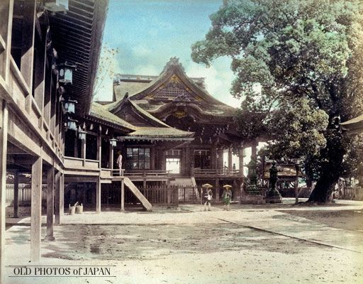 Kotohira-gu, popularly known as Konpira-san, a Shinto shrine in Kotohira, Kagawa Prefecture. Amazingly, the main shrine building seen on this image—built in 1877 (Meiji 10)—looks virtually exactly the same today. This is one of those relatively few places left in Japan where you can truly jump back into time.
