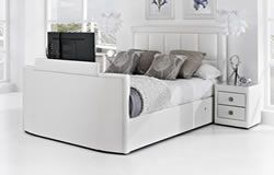 The Azure King Size TV Bed  The Azure TV bed frame is made from quality faux leather and is available in white,black and brown. This stunning highly compact TV bed frame features a super slim style foot board containing the latest 32inch LED slim television.
