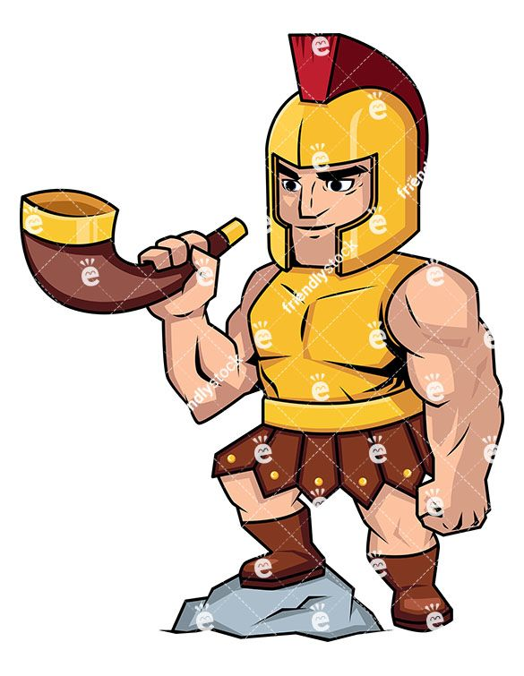 Roman Soldier Blowing A Battle Horn: Royalty-free stock vector illustration of a muscular Roman soldier wearing a helmet and heavy armor, getting ready to blow a horn and signal the beginning of a battle while his one leg rests on a rock. #roman #empire #legion #soldier #warrior #horn #tobattle #battle #friendlystock #clipart #vector #art #graphic