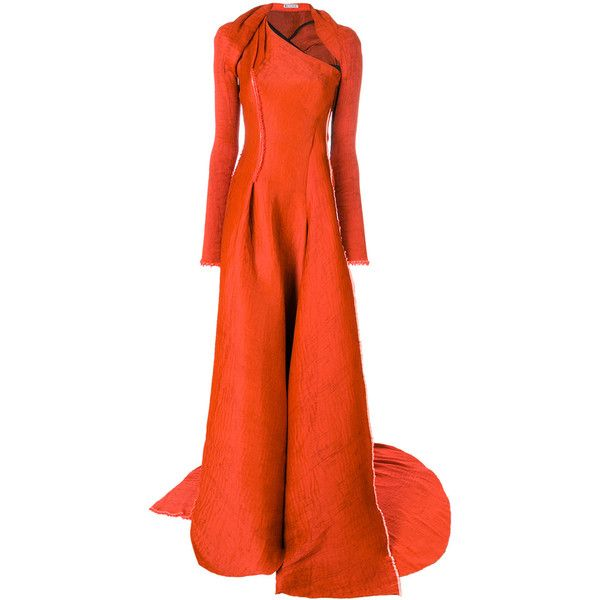 Maticevski asymmetric fitted bodice gown (€2.990) ❤ liked on Polyvore featuring dresses, gowns, orange evening gown, fitted bodice dress, maticevski, asymmetrical evening gowns and asymmetrical gown