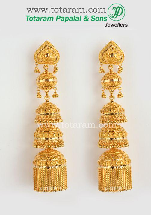22k Gold Jhumka Gold Chandelier Earrings Gold Jewelry