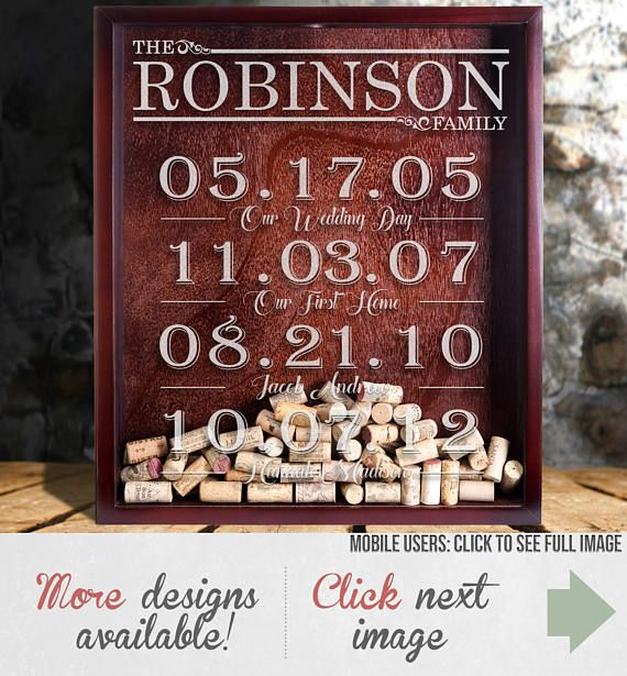 Gift For Mom - Family Dates Sign - Important Dates Gift - Shadow Box - Family Wall Art - Wine Cork Holder - Mother's Day Gift
