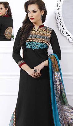 Latest Traditional Black Chanderi Cotton Pakistani Suit
