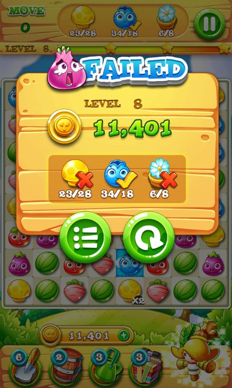Garden Mania 2 by Ezjoy - Results Fail Screen - Match 3 Game - iOS Game - Android Game - UI - Game Interface - Game HUD - Game Art