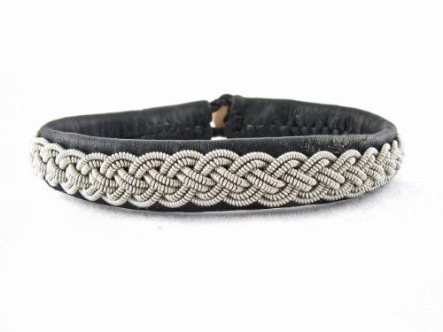 "Sami Lapland Swedish Bracelet Reindeer Leather Frost (6.75"" - 7.00"") (7 Inches) Nordic Art & Design. $75.00. Exquisite reindeer leater. Topgrade pewter strands, 4% silver. Handmade by skilled artisans"