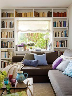 library, bookcase , Corner Sofa , colorful decoration