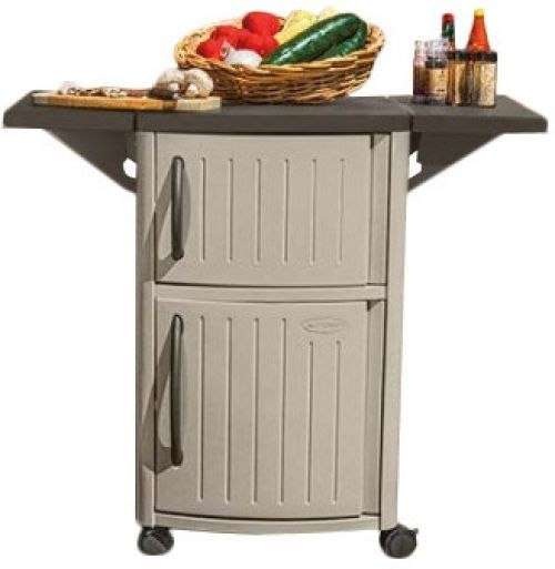 Outdoor Serving Cart Patio Bar Tray Storage Cabinet Utility Resin Shelf Dining