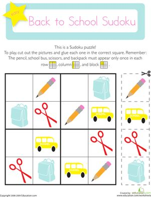 Back to School Kindergarten Patterns Worksheets: Picture Sudoku: Back to School