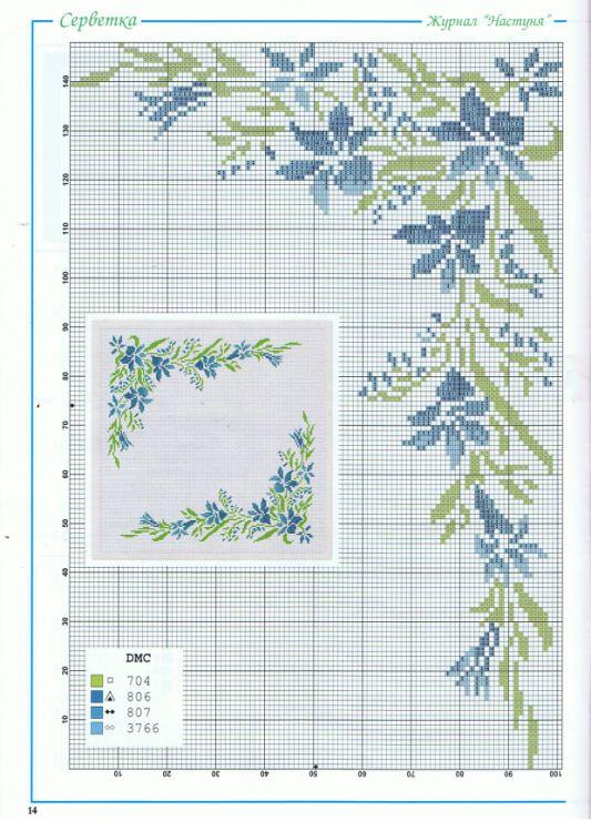 Beautiful blue flower cross stitch corner work
