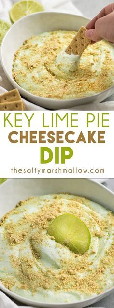Key Lime Pie Cheesecake Dip: This sweet treat is super simple to whip up with only a handful of ingredients. This recipe is perfect for summer parties with a cool and creamy mixture of lime, cream cheese, and a touch of sweetness. Graham Crackers are this dips best friend!