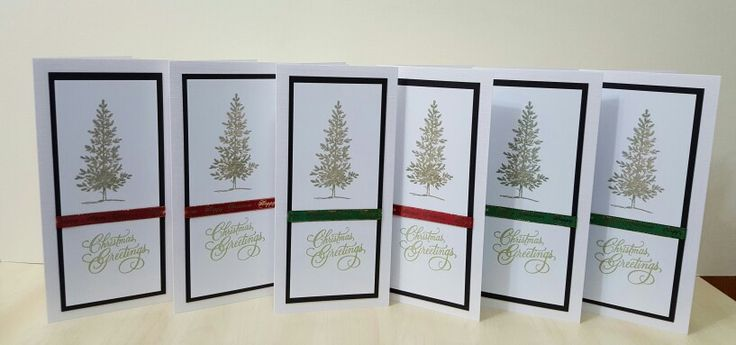 Lovely as a Tree stamp & Penny Black Stamps sentiment, set of six cards