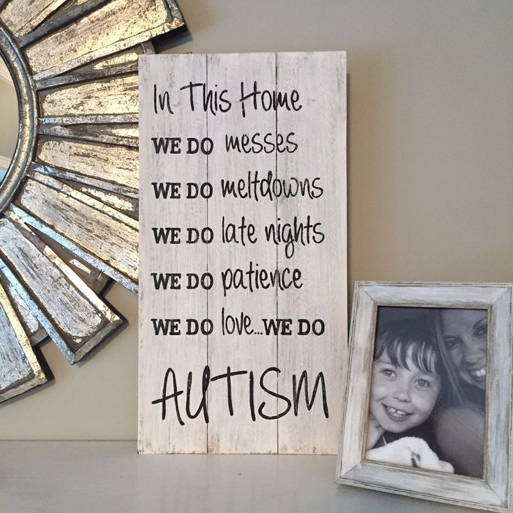 In This Home...AUTISM sign, wood pallet, farmhouse style, typography, autism wall art by OneCottageWay on Etsy https://www.etsy.com/listing/483690224/in-this-homeautism-sign-wood-pallet