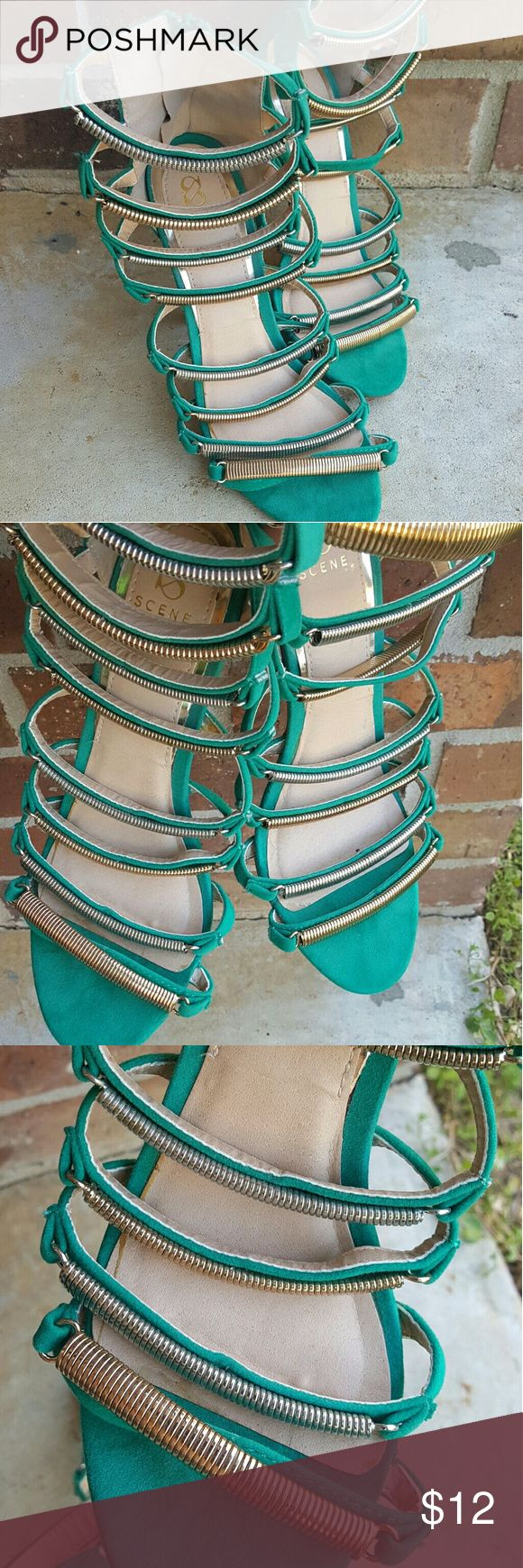 "Scene by ""Shoe Dazzle"" Green strappy heels Amazing color   Worn 1 time  Price reflects metal that is no longer fully attached on 1 shoe   No trades Scene  Shoes Heels"