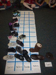 Schoenen sorteren. Klittenband, veters of open schoenen, dichte... Hoge- en lage schoenen. Zoveel mogelijkheden.