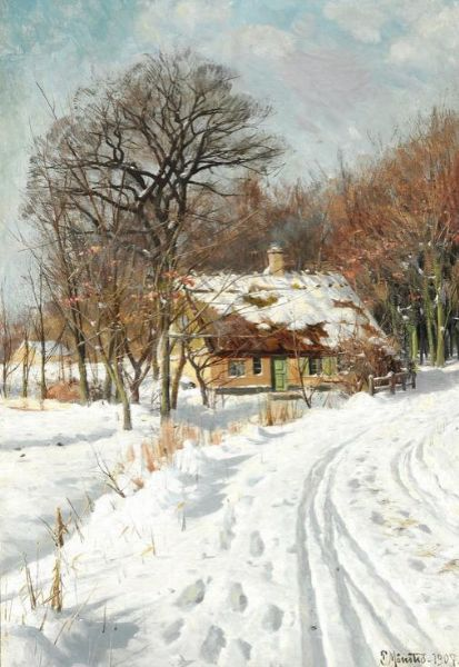 Sunny winter landscape with a road leading past a thatched cottage by Peder Mork Monsted. Medium: Oil on canvas. Size: 74cm*50cm. Lot was auc… | Moment in 2019 | Pinterest | Winter landscape, Landscape and Winter