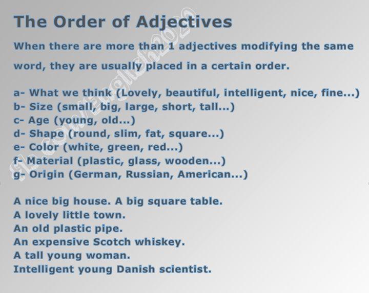 Forum | . | Fluent LandThe Order of Adjectives | Fluent Land