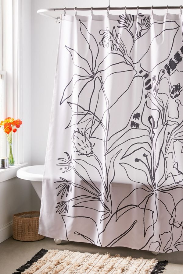 Megan Galante For Deny Charcoal Tropics Shower Curtain With Images Modern Shower Curtains Shower Curtain Decor Fabric Shower Curtains