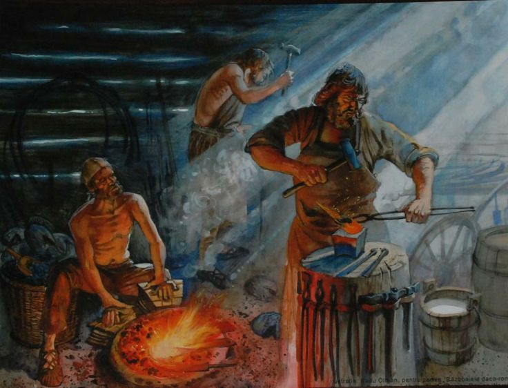 Dacian blacksmith, reconstruction drawing by Radu Oltean