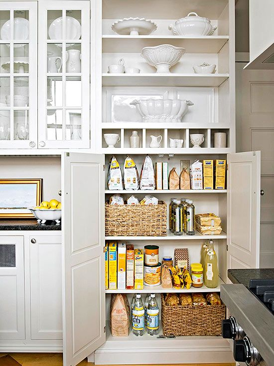DECLUTTER YOUR PANTRY | If you have 10 minutes: Stack and store items as they are, but align rows of cans and boxes for a neatened appearance. If you have 15 minutes: Regroup food by item type. Toss anything that is expired. Wipe away any spills or dirt on shelves.