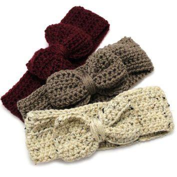 Повязка на голову подарочный набор для женщин, вязание крючком ободки лук, гигантский лук ленты для волос, Рождественский подарок для девочки-подростка, праздничный подарочный набор, зима уха грелки