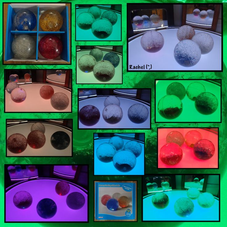 "Sensory glittery balls on the colour-changing light panel - from Rachel ("",)"