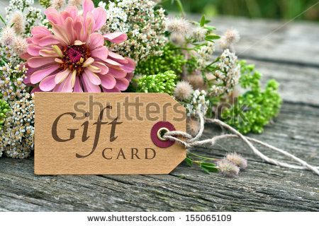 pink flowers with gift card/gift card/english