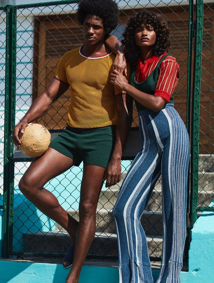 Melodie Monrose serves seventies vibes in striped shirt, knit top and high-waist trousers