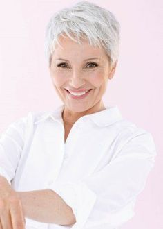 short pixie Hair styles for grey hair for older women. Grey senior women over 50s hair styles by Kimberly and Team of HaircutsonWheels.ca