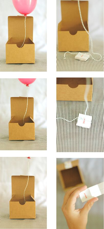 Balloon invitations using a box, mini balloon and a little note tied onto the balloon string! Open up the box and wait for magic to happen.: Craft, Balloon Invitation, Birthday Gift, Gift Ideas, Balloons, Diy, Giftidea